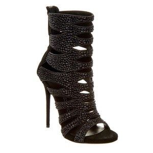 Giuseppe Zanotti Crystal Embellished Suede Limited Edition Black Sandals