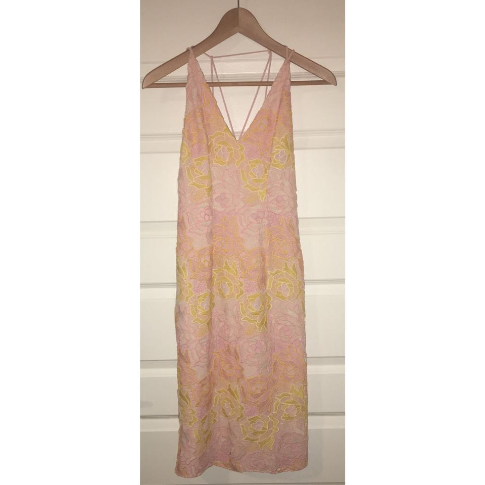 Topshop Pastel Pink and Yellow Crochet Floral Lace Strap Midi Mid ... 2064cfcb1