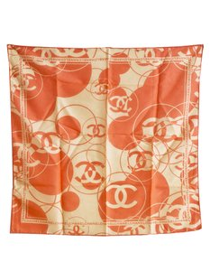 Chanel Chanel Orange Square Scarf with Tag