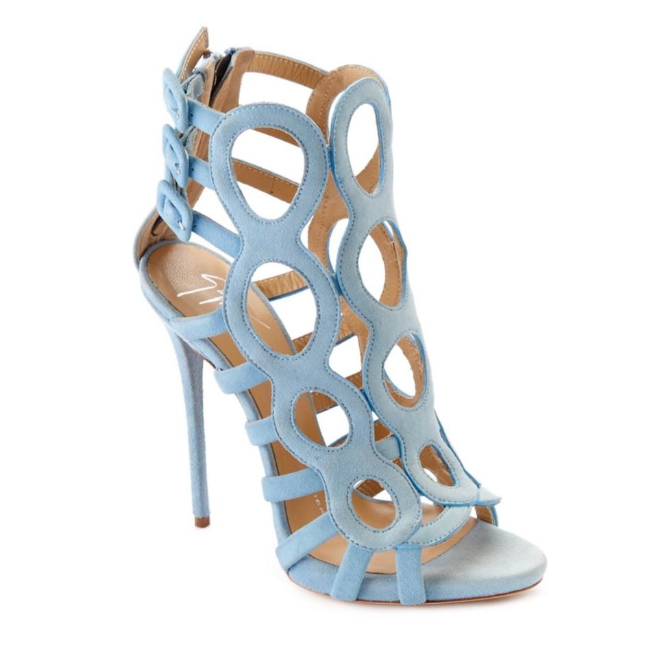 cbeeefa78b Giuseppe Zanotti Light Blue Circle Cut Out Suede Heeled Sandals Size ...