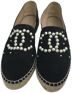 Chanel Espadrille Limited Edition Pearl Black Flats
