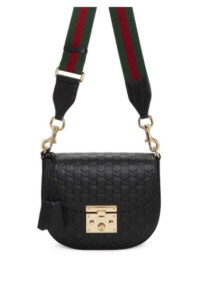 09d721e87b79 Gucci Padlock Medium Signature Black Leather Shoulder Bag - Tradesy
