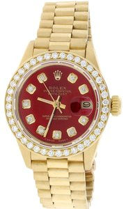 Rolex President Datejust Ladies 18K Gold 26MM w/Red Diamond Dial & Bezel