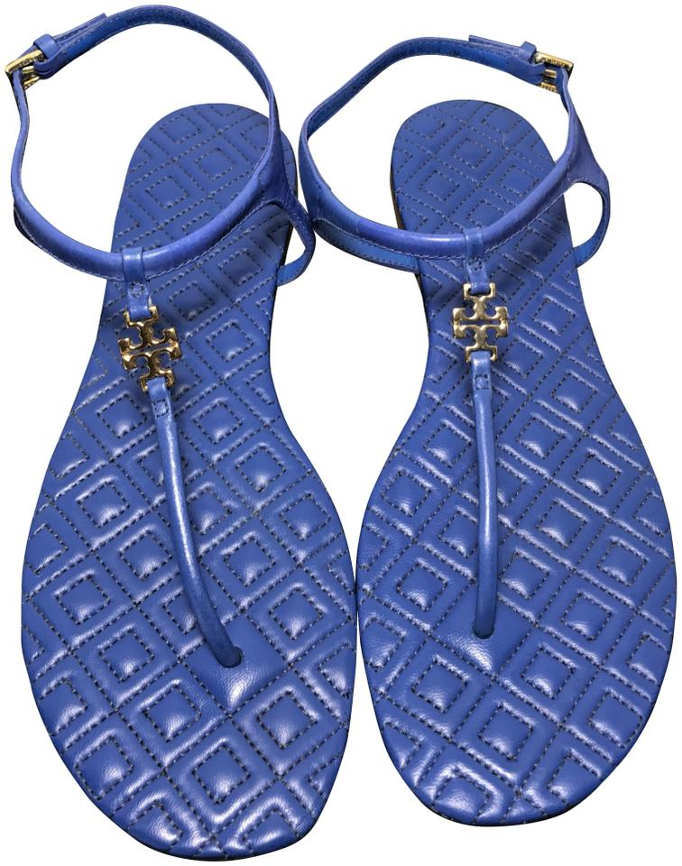 869a68090db9d Tory Burch Blue Marion T Quilted Leather T-strap Sandals Size US 7 ...