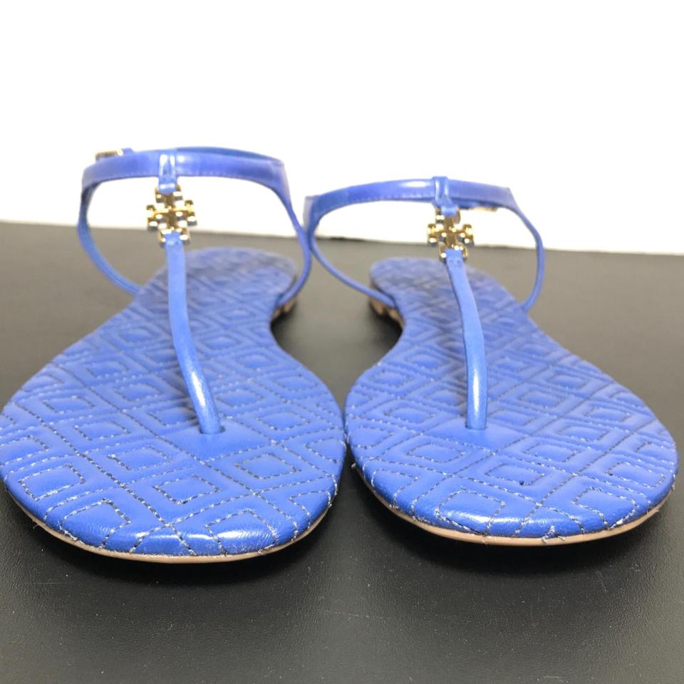 ae49c2a6b7c Tory Burch Blue Marion T Quilted Leather T-strap Sandals Size US 7 Regular  (M