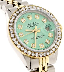 Rolex Datejust Ladies 2-ToneGold/Steel 26mm w/Green Diamond Dial, Bezel