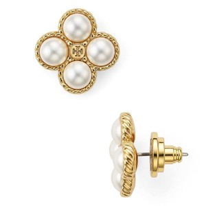 Tory Burch New Tory Burch Rope Clover Pearl Stud Earring Gold