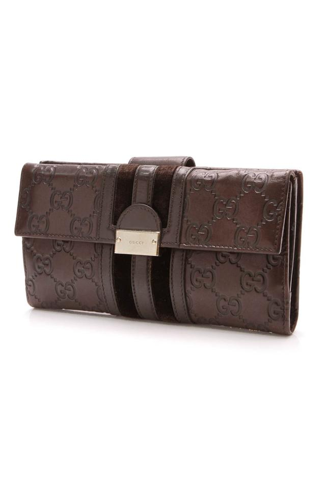 9f7ab7215a0b66 Gucci Gucci Brown Guccissima Leather Velvet Web Continental Wallet Image 0  ...