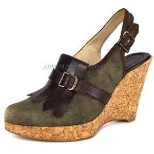 Frye Leather Cork Rubber Bronze Brown Green Wedges