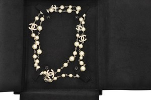 Chanel Crystal Pearl 5 CC Long Necklace Silver