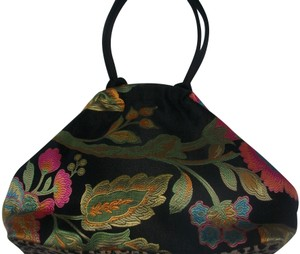Made In Usa Multi-color On Black Fabric Leather Canvas Satchel 58% off  retail