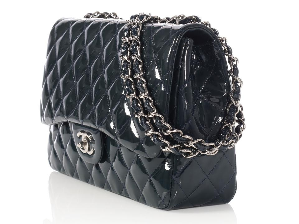 93e27f47262f Chanel Classic Flap  sold On Ebay jumbo Navy Blue Patent Leather Shoulder  Bag - Tradesy