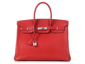 Hermès Palladium Hr.l1121.04 Chevre Top Handle Satchel in Red
