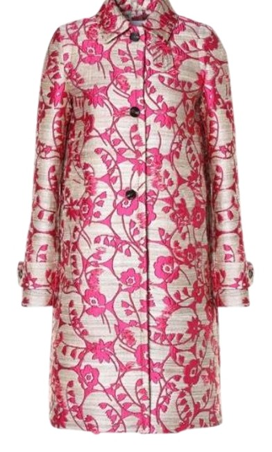 Item - Pink and Beige Floral Jacquard Coat Size 4 (S)