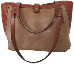 Emilie M Straw Woven Faux Leather Versatile Brass Hardware Satchel in Brown