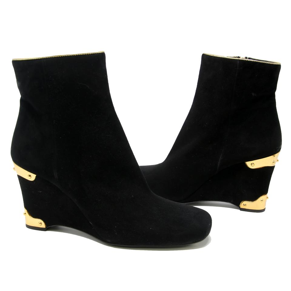 b70bc7aa359f Prada Black Signature Suede Ankle Booties with Studded Gold Hardware Wedges