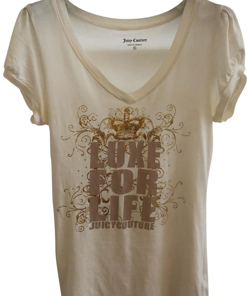 3966ede2 Juicy Couture Beige Women Tee Shirt Size 4 (S) - Tradesy