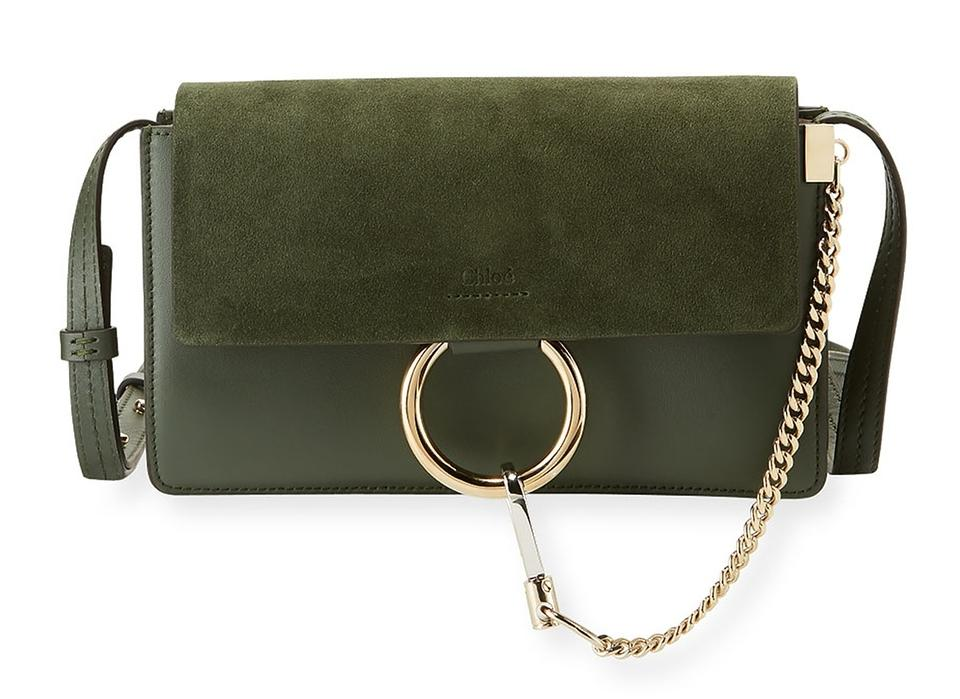 Green Calfskin Chloé Body Cross Bag Small Suede Smooth Dark Faye CtqHwtY