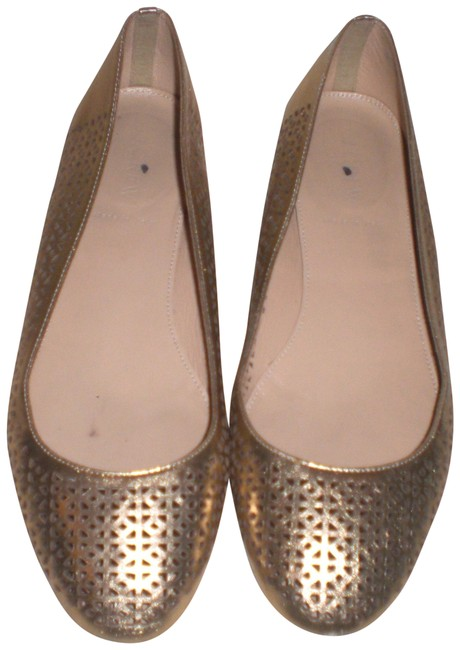 Item - Silver Gold Perforated Leather Flats Size US 9 Regular (M, B)