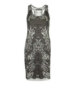 AllSaints short dress Gray Zebra Digital Print Racer-back Raw on Tradesy