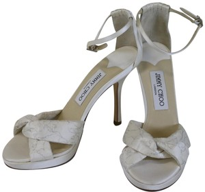 Jimmy Choo Satin Macy 37.5 White Formal