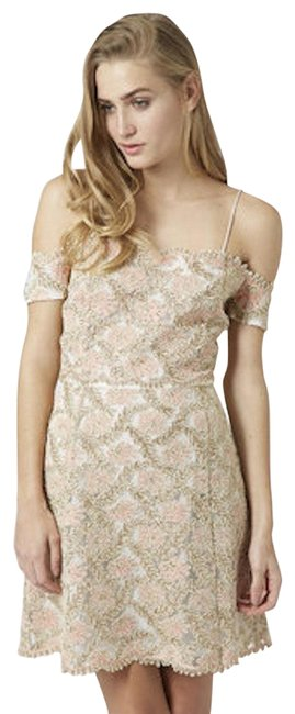 Item - Pink/Gold Limited Edition Shoulder Lace Mid-length Cocktail Dress Size 2 (XS)