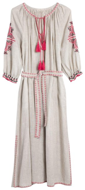 Item - Natural Linen and Pink Embroidered Long Casual Maxi Dress Size 2 (XS)