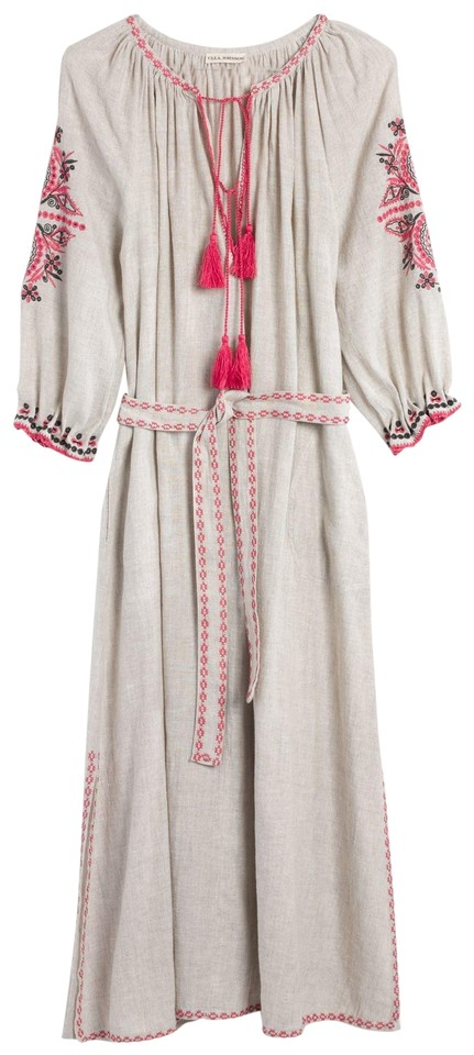 Natural Linen and Pink Maxi Dress by Ulla Johnson Embroidered Tassels ...