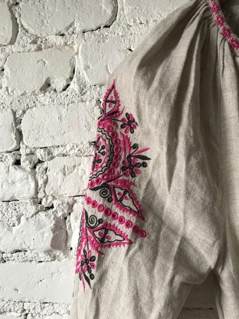 Natural Linen and Pink Maxi Dress by Ulla Johnson Embroidered Tassels