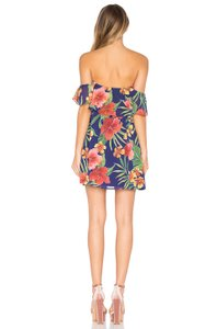 Privacy Please Print Leaf Print Off Shoulder Floral Print Dress