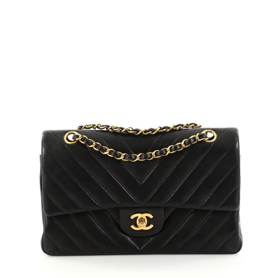 a5cb20bc74c127 Chanel Classic Flap Vintage Classic Double Chevron Medium Black ...