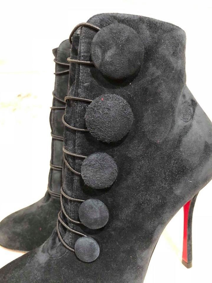 046999a8106f Christian Louboutin Blue Booton 100 Nuit Suede Button Heel Bootie ...