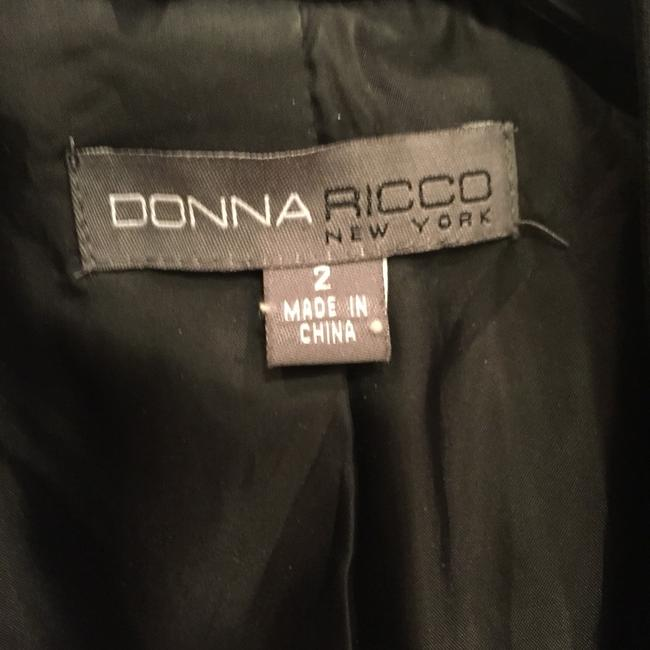 Donna Ricco Open Front Open Front Jacket Open Front Collarless Wear To Work Suiting Black Blazer