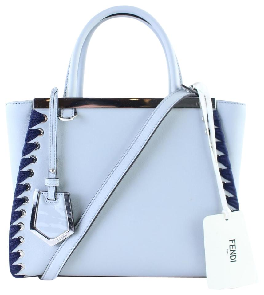 90253c4cb97a Fendi Petite 2jours Whipstitch Peekaboo Crossbody 2way Satchel in Pale Blue  Image 0 ...
