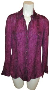 White House | Black Market Silk Snakeskin Button Down Shirt deep purple & black