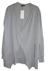Eileen Fisher Superfine Wool Crepe Washable Oversized Fit Fluid Patch Pockets Cardigan