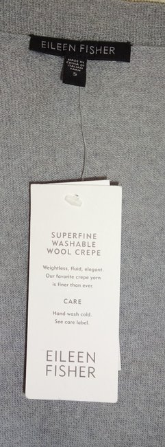 Eileen Fisher Superfine Wool Crepe Washable Oversized Fit Fluid Patch Pockets Cardigan Image 1