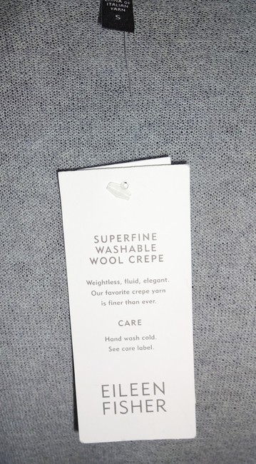 Eileen Fisher Superfine Wool Crepe Washable Oversized Fit Fluid Patch Pockets Cardigan Image 3