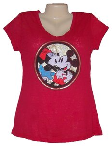Disney Mickey Minnie Mouse Graphic T Shirt Red