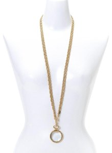 Chanel Gold Vintage 24k Plated Magnifying Glass Loupe Necklace