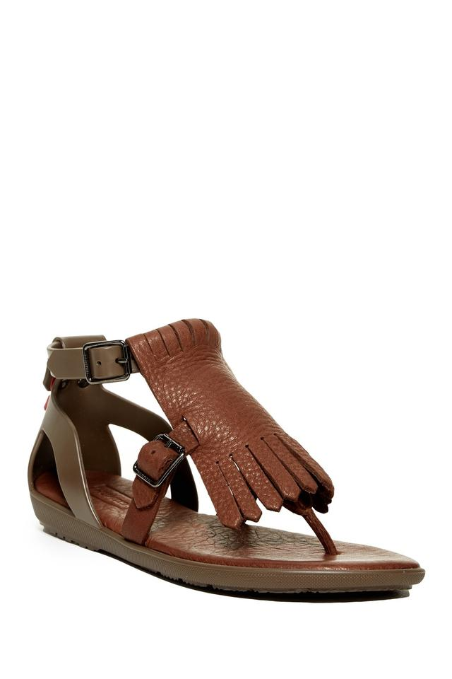 Hunter Brown Brown Hunter Leather Thong Fringe Sandals ebe74e