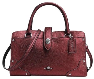 Coach Satchel in Metallic Cherry/Silver