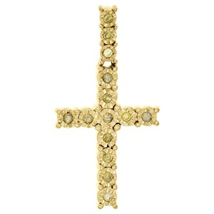 Jewelry For Less 10k Yellow Gold Canary Diamond 3D Miracle Cross Pendant Charm 1/4 CT