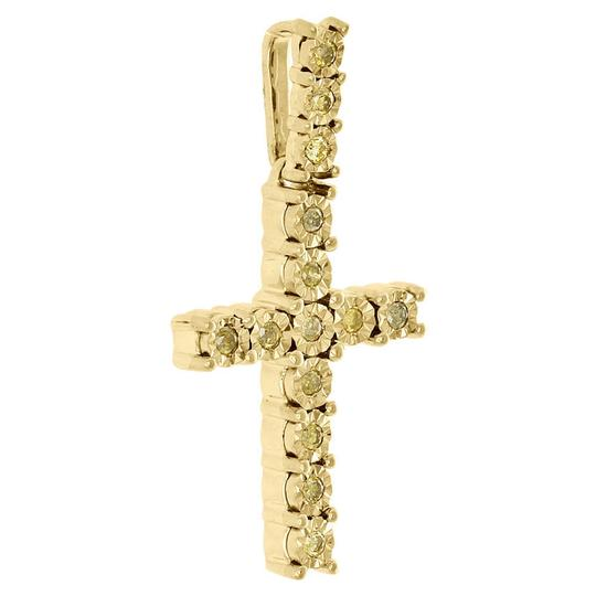 Jewelry For Less 10k Yellow Gold Canary Diamond 3D Miracle Cross Pendant Charm 1/4 CT Image 1