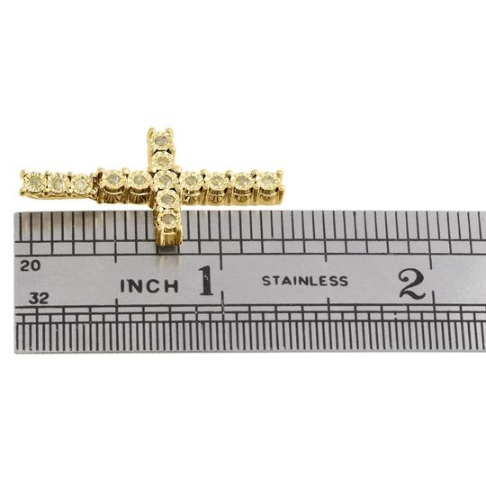 Jewelry For Less 10k Yellow Gold Canary Diamond 3D Miracle Cross Pendant Charm 1/4 CT Image 3