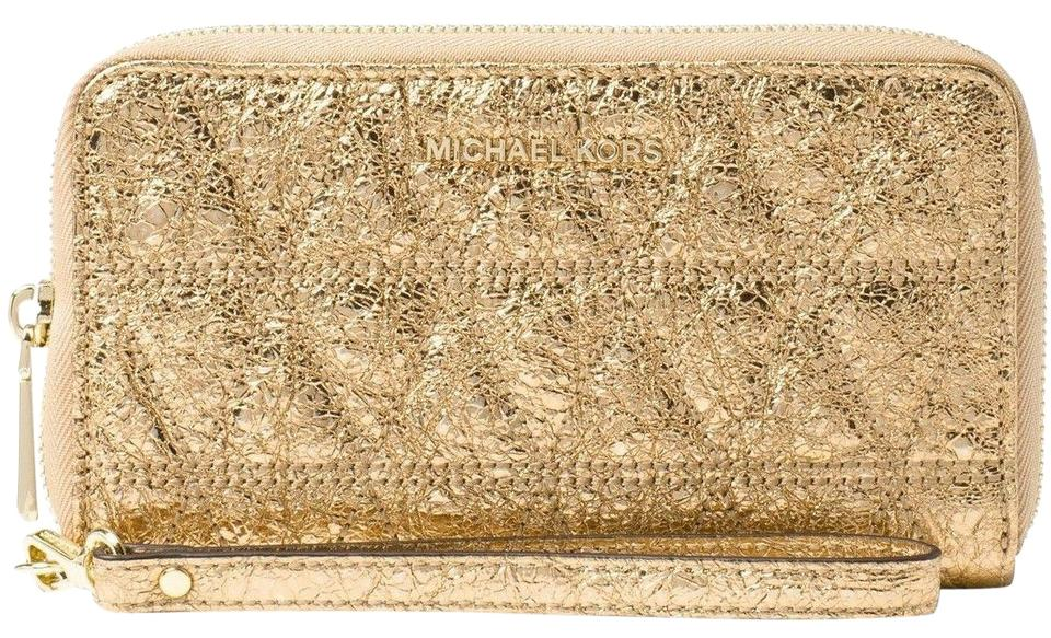 109505de1420a Michael Kors Gold Large Flat Multifunction Phone Case Wristlet Wallet 49%  off retail