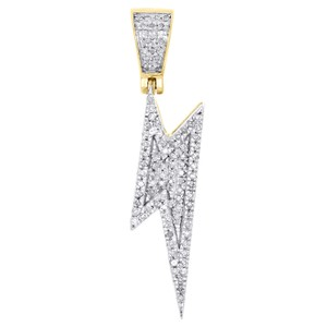 Jewelry For Less 10K Yellow Gold Diamond Lightning Bolt Symbol Pendant Charm 0.26 CT.