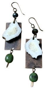Other Handmade Naturally Shed Antler & Jade Brass Dangle Drop Green Earrings