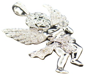 Jewelry For Less Diamond Mini Angel 3D Pendant .925 Sterling Silver Charm 0.55 CT