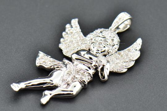 Jewelry For Less Diamond Mini Angel 3D Pendant .925 Sterling Silver Charm 0.55 CT Image 1